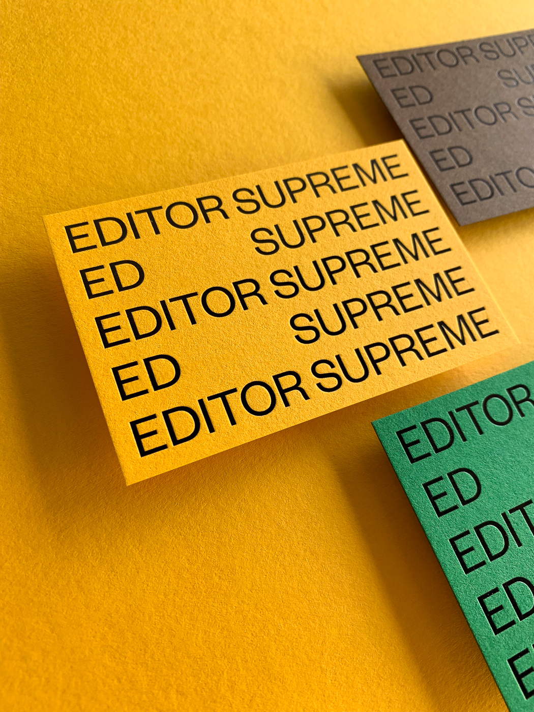 Black foil business cards for Ed Supreme on Colorplan 3