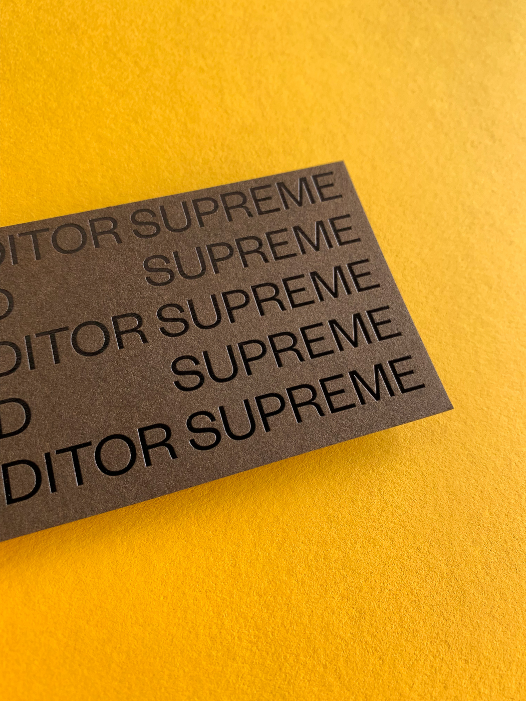 Black foil business cards for Ed Supreme on Colorplan 4