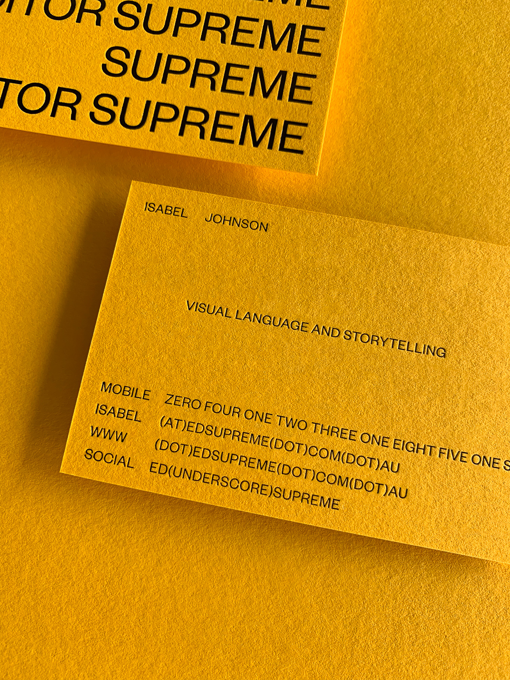 Black foil business cards for Ed Supreme on Colorplan 6