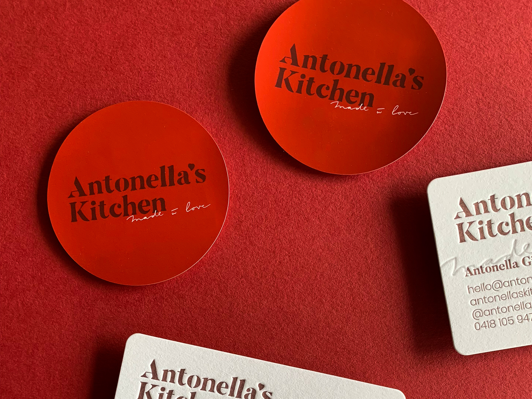 Custom letterpress business cards for Antonellas Kitchen on Stephen Gesso White-3