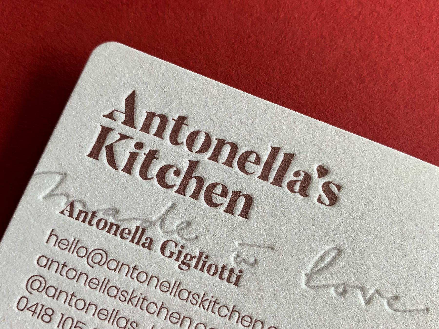 Custom letterpress business cards for Antonellas Kitchen on Stephen Gesso White-5