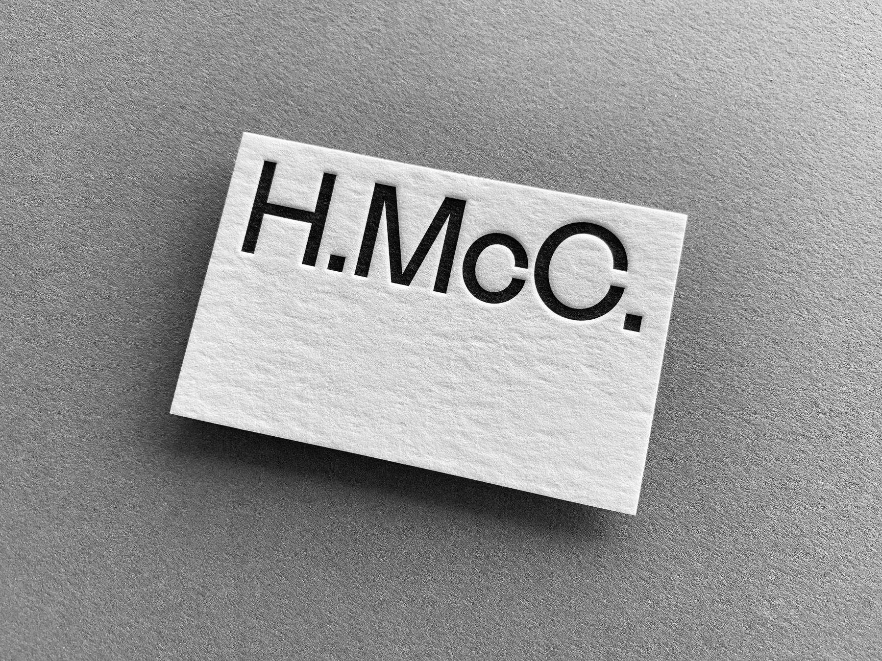 Letter pressed business cards for Hugh McCarthy on Wild 3