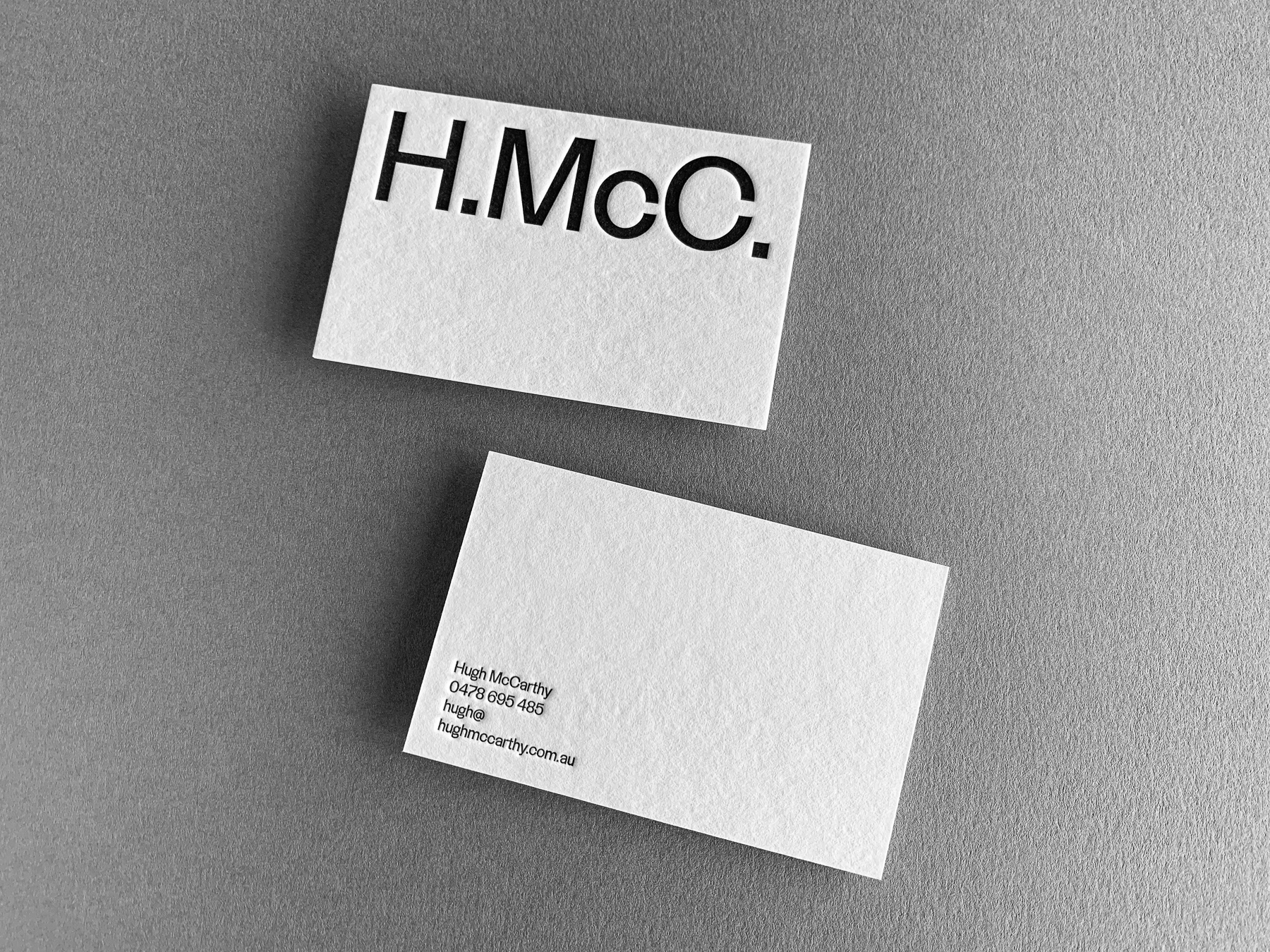 Letter pressed business cards for Hugh McCarthy on Wild 4
