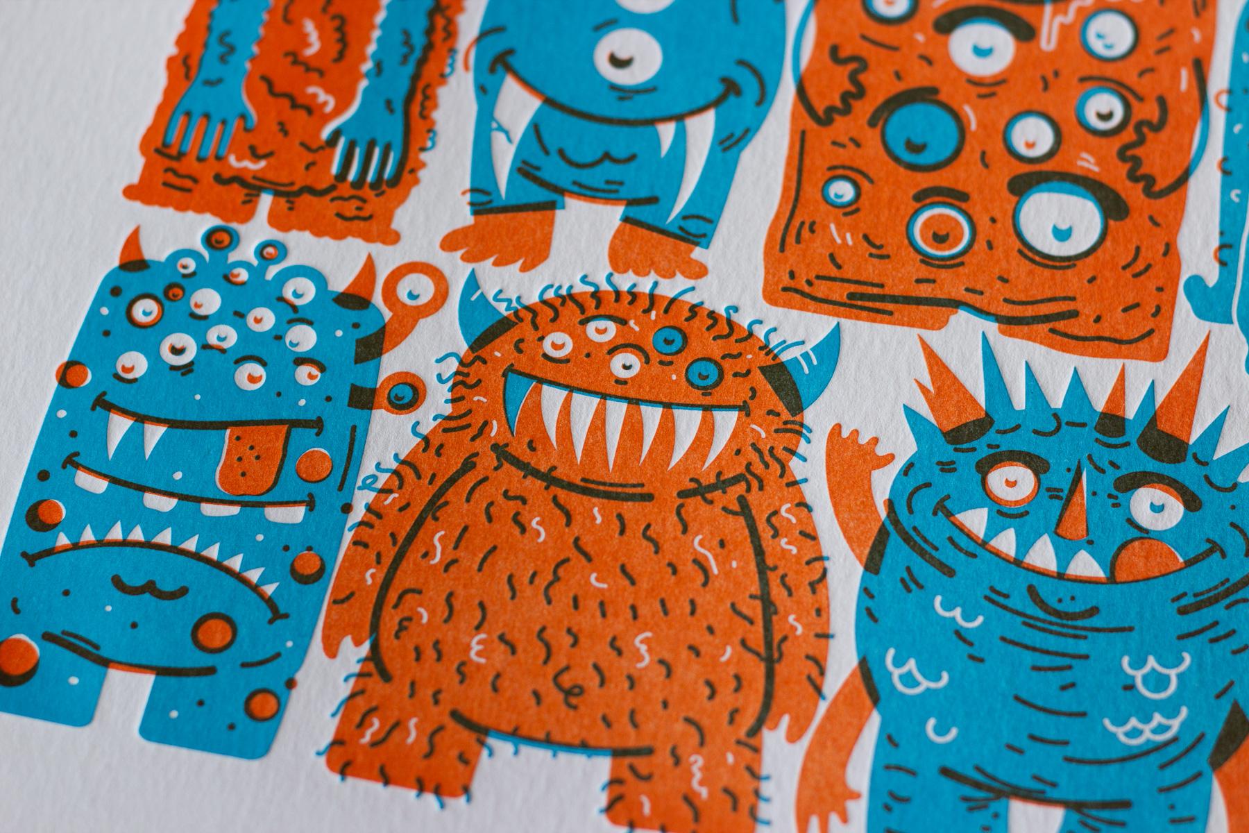 Michael Langenegger Monster Letterpress Art Print x Hungry Workshop-02
