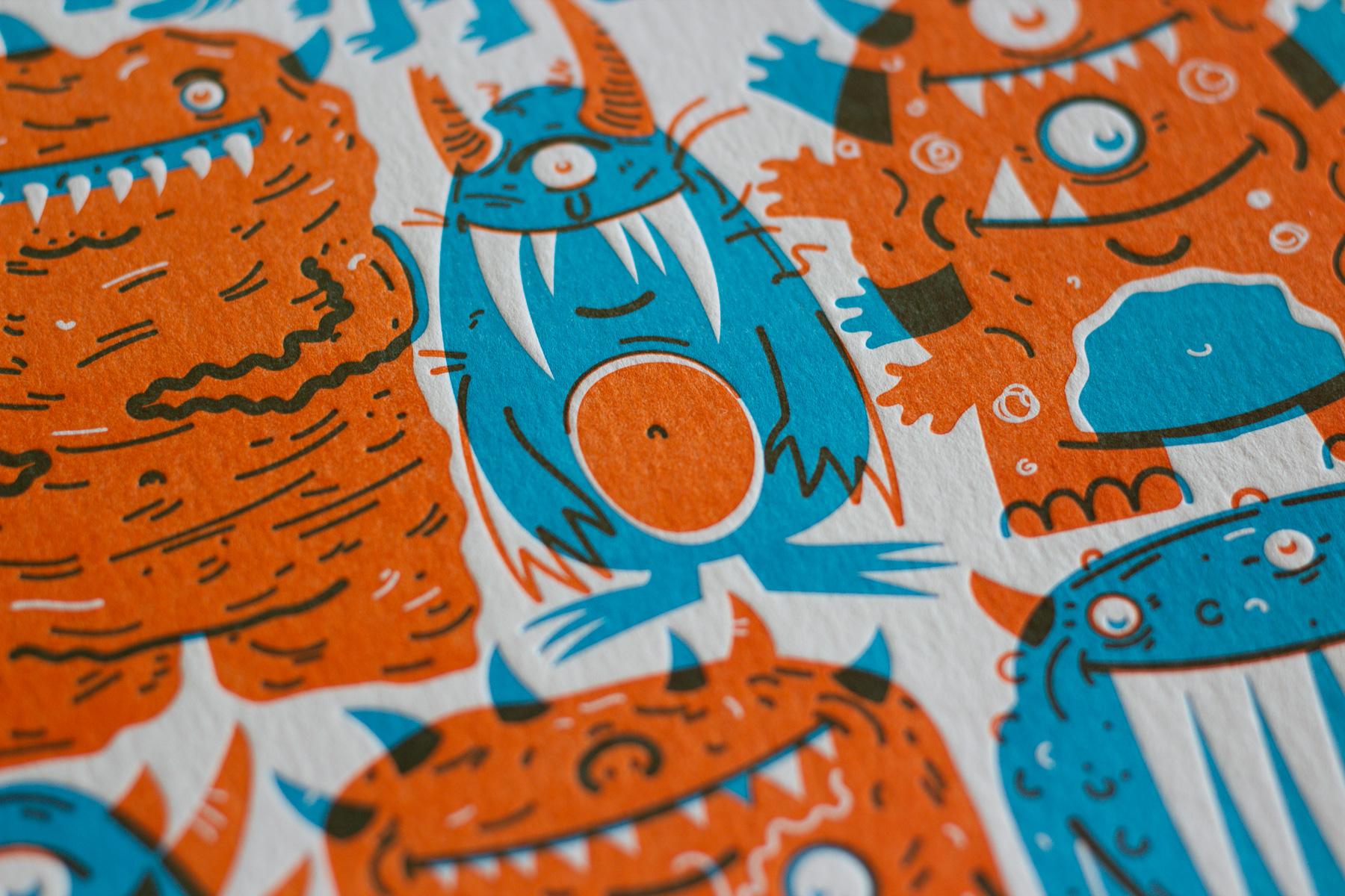 Michael Langenegger Monster Letterpress Art Print x Hungry Workshop-03