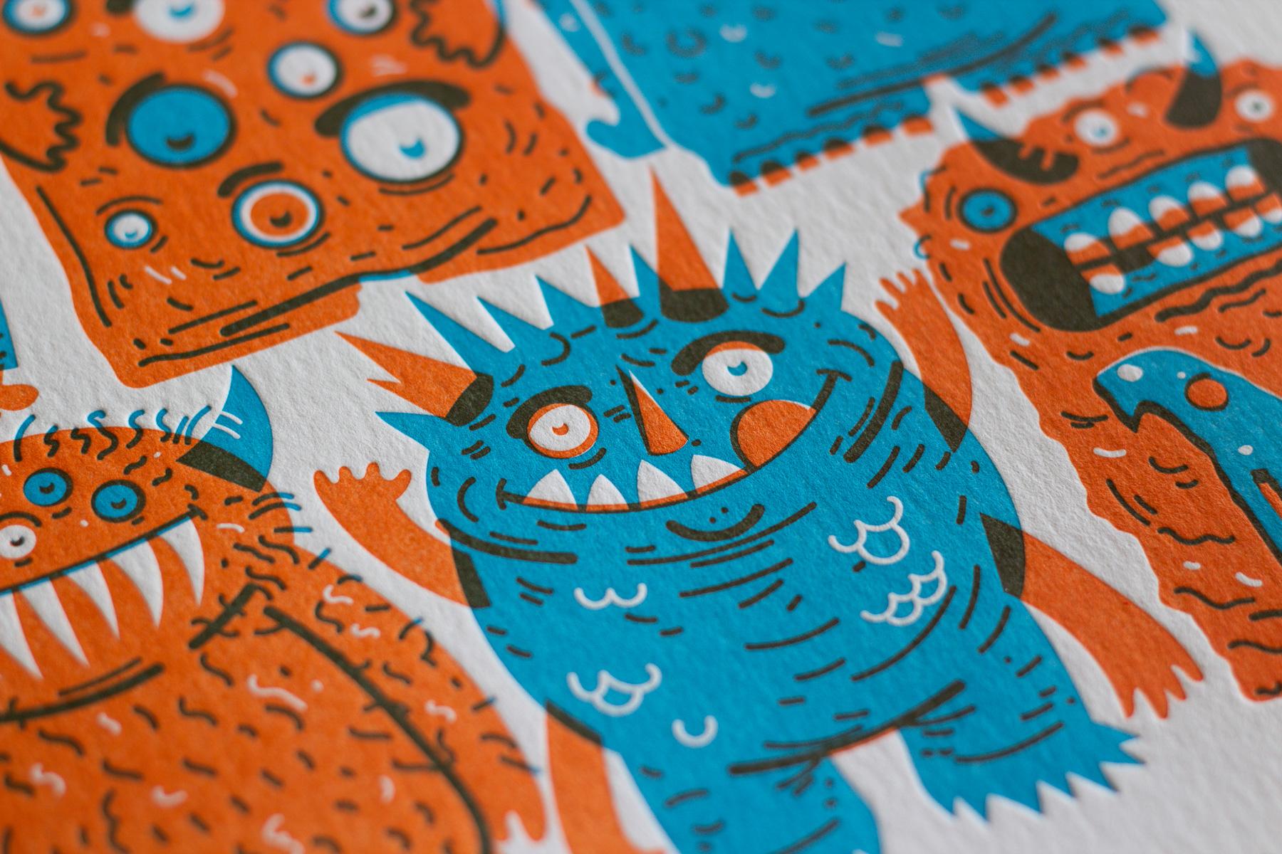 Michael Langenegger Monster Letterpress Art Print x Hungry Workshop-05
