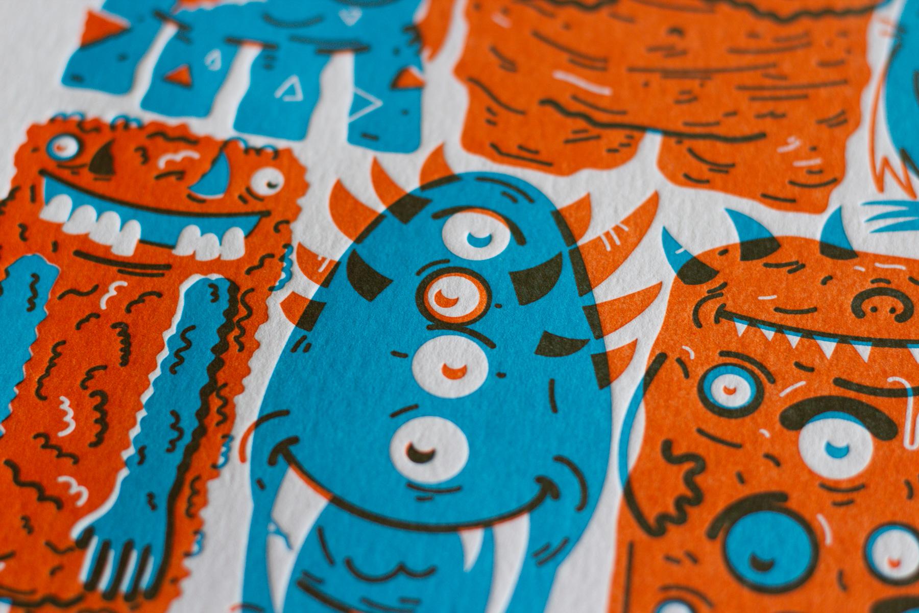 Michael Langenegger Monster Letterpress Art Print x Hungry Workshop-06