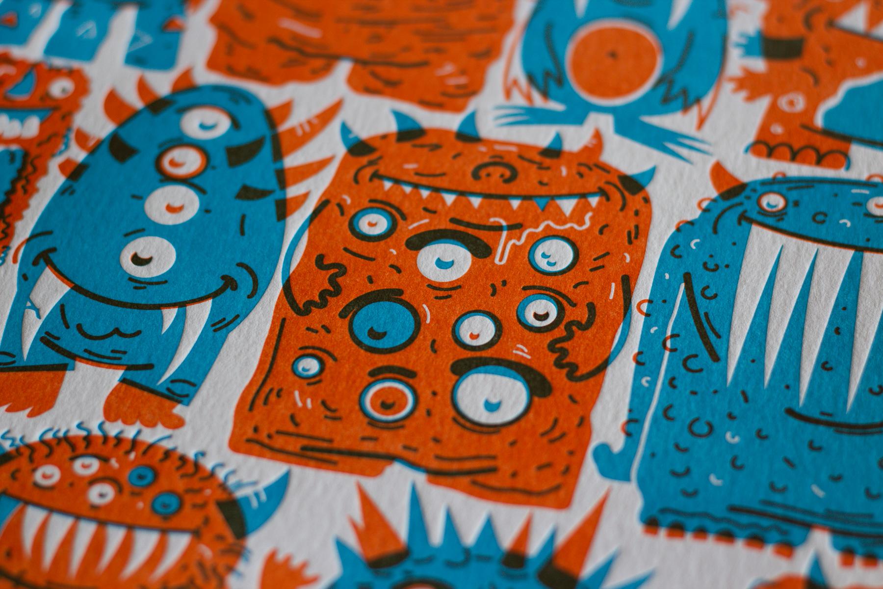 Michael Langenegger Monster Letterpress Art Print x Hungry Workshop-08