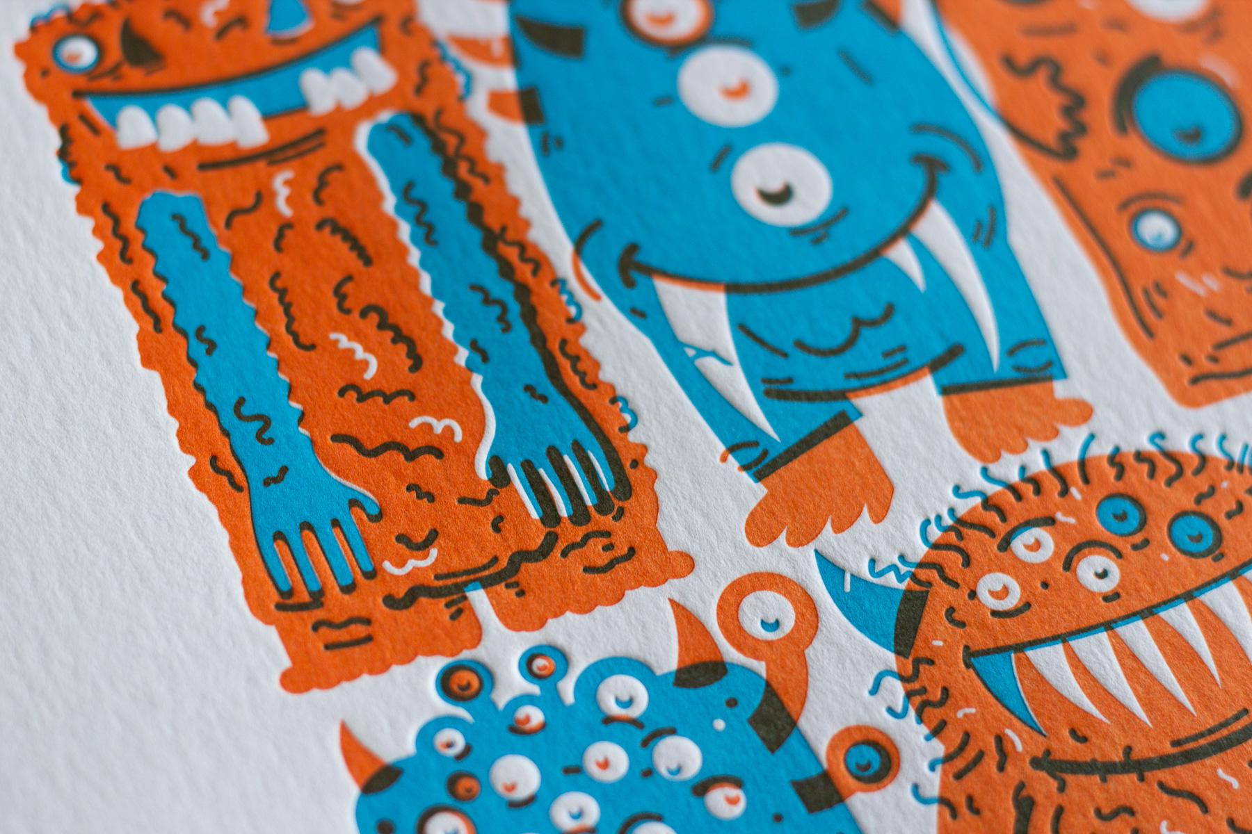 Michael Langenegger Monster Letterpress Art Print x Hungry Workshop-09