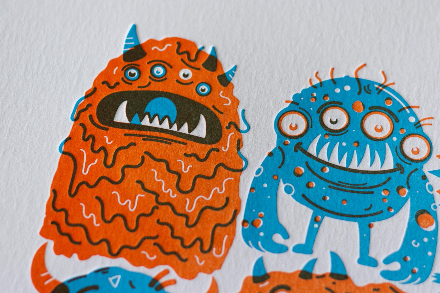 Michael Langenegger Monster Letterpress Art Print x Hungry Workshop-10