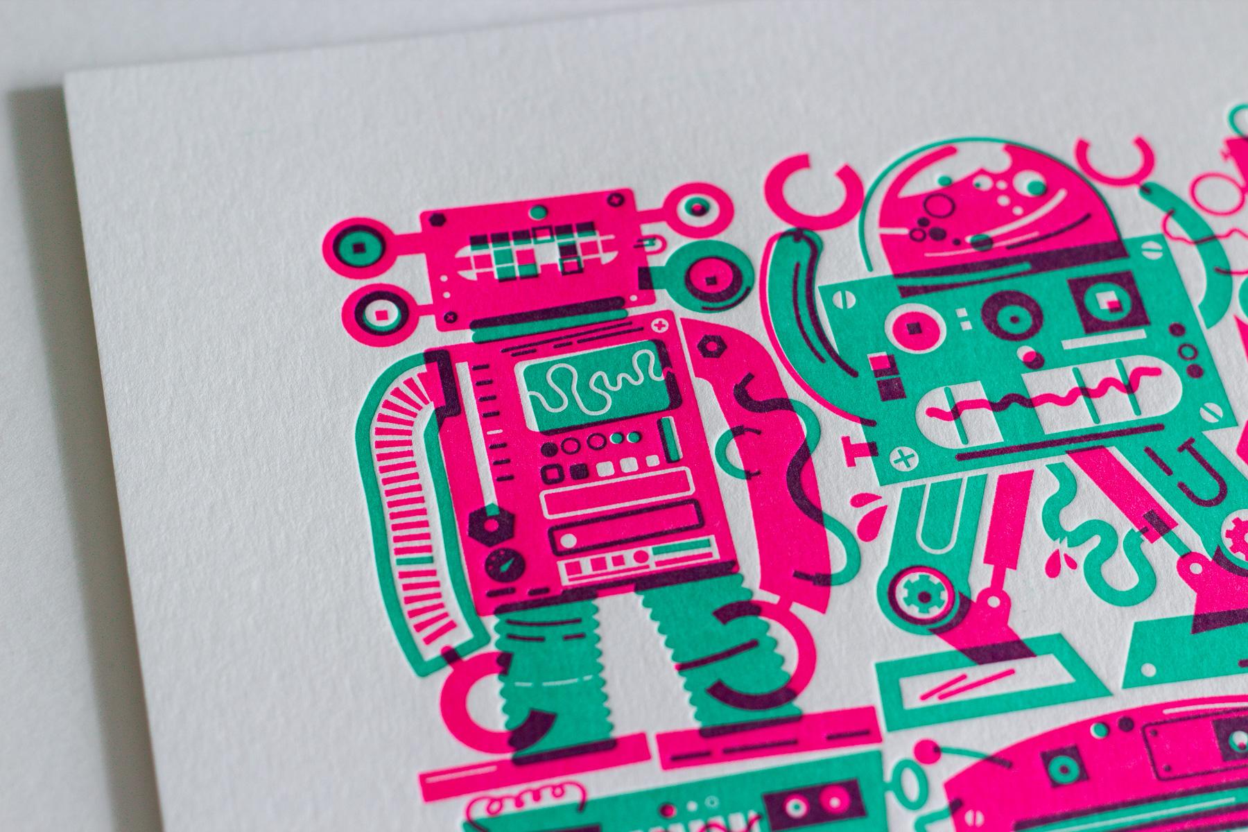 Michael Langenegger Robot Letterpress Art Print x Hungry Workshop-4